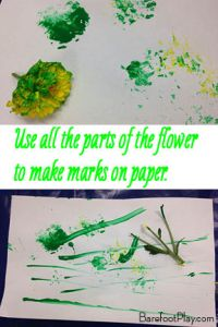 Painting with Flowers Barefoot Play