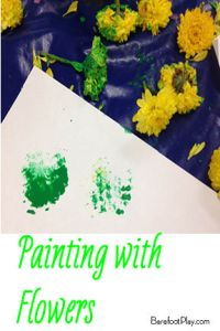 Painting with Flowers earlychildhood art Barefoot Play
